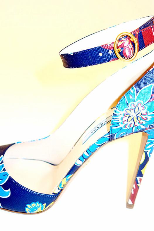 Prada Blue Floral Heels