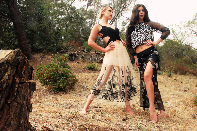 Cynthia Vincent Black Print Split Leg Skirt