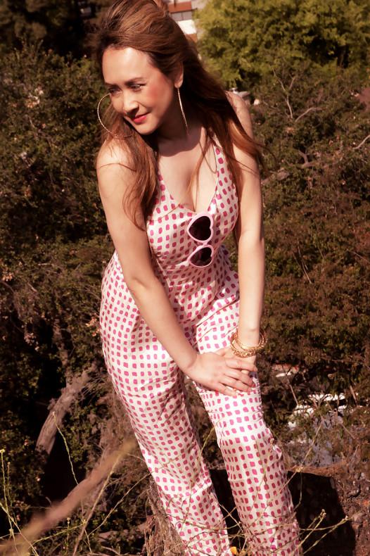 Harlyn Pink Dot Peg Leg Jumper