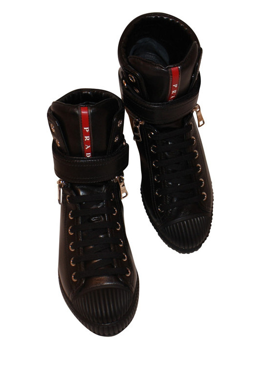 PRADA AVENUE LEATHER HIGH-TOP SNEAKERS
