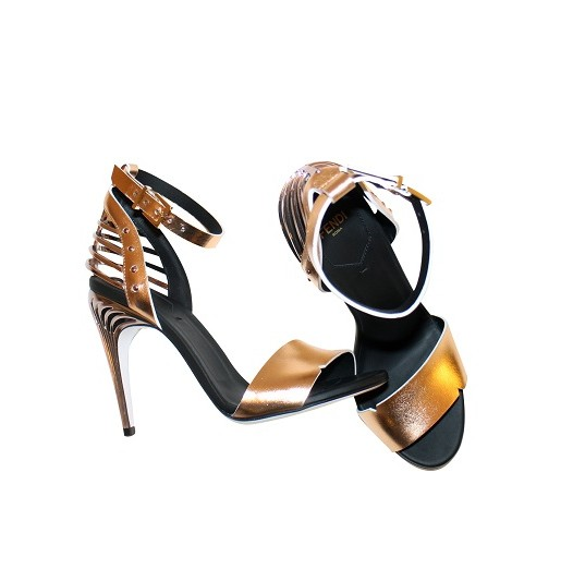 Fendi Rose Gold And Silver Metal Frame Back Ankle Strap Sandals