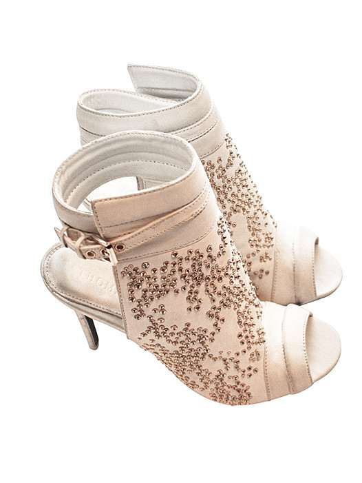 Thomas Wylde Caviar Studded Open Toe Heeled Booties