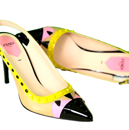 Fendi Beige Embellished Leather Color Block Pumps - Multicolor