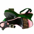 Fendi Zucca Open Toe Platform Block Heel Sandal