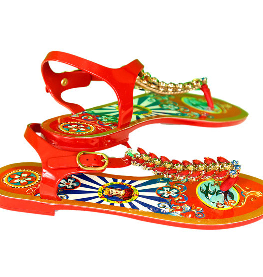 Dolce & Gabbana Carretto Siciliano Bejeweled Rubber and Tassel Print Sandals Red