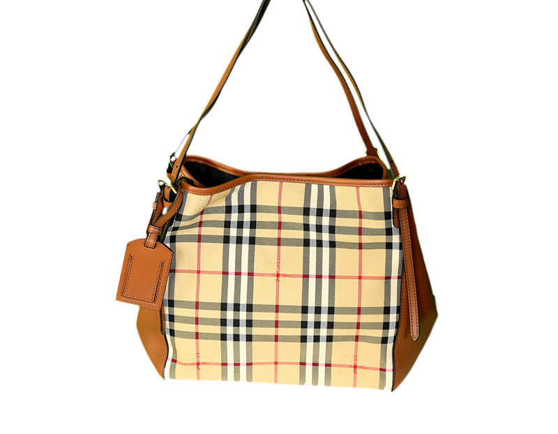 4d4903cec38a Honey Tan Burberry Horseferry Check Small Canterbury Panels Tote ...