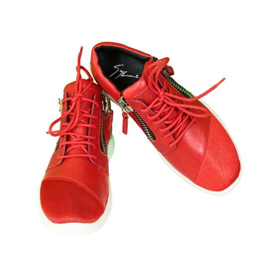 Giuseppe Zanotti Red Leather & Mesh Megatron Sneakers