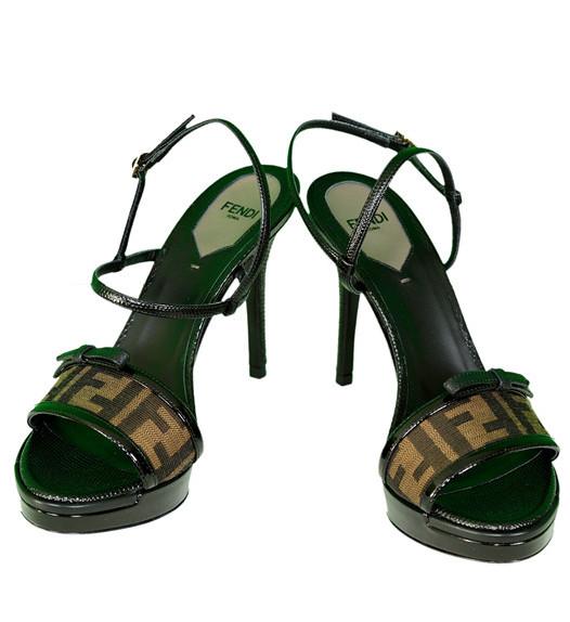 Fendi Tobacco Zucca Open Toe Platform Sandal