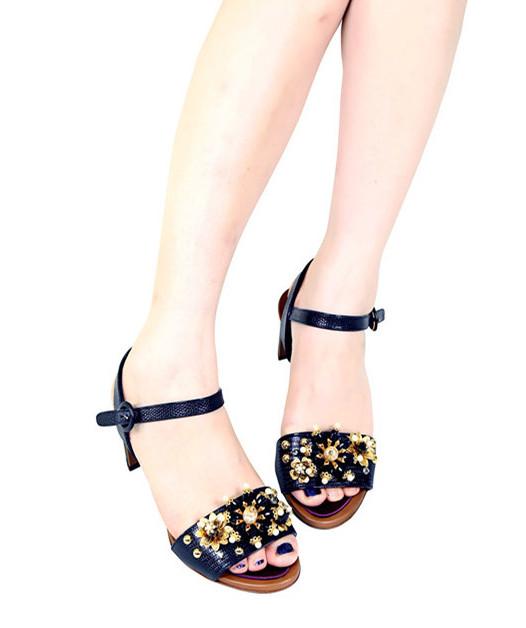 Dolce & Gabbana Keira Iguana Print Leather Sandal