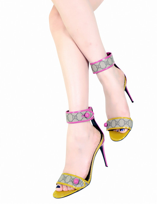 Gucci'Harleth' Ankle-Strap Patent-Leather Sandals
