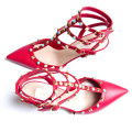 Valentino Garavani Rockstud Rolling Red Leather Ankle Strap Pumps