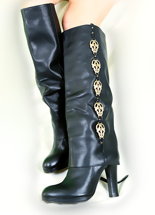 Thomas Wylde Skull Head Accented Knee High Boots