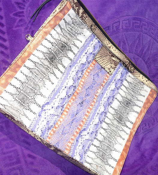 Twelfth Street Cynthia Vincent Women's Blue Bankers Snakeprint Foldover Clutch Bag